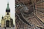 Vizualizace schodiště na šikmou věž kostela Nanebevzetí Panny Marie v centru Ústí nad Labem