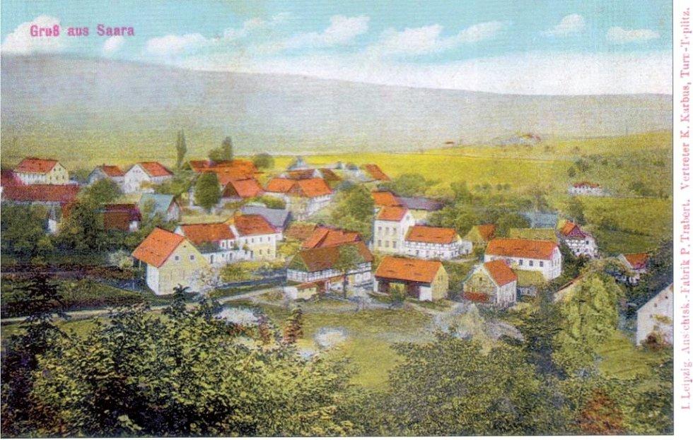 Kolorovaný pohled na Žďár v roce 1917.