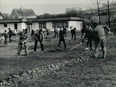 Úprava fotbalového hřiště v Libouchci v rámci Akci Z (50. léta 20. století).