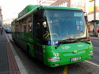 Zelený autobus. Ilustrační foto.