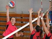 Volejbalistky Chabařovic (růžové) doma prohrály s Mělníkem.