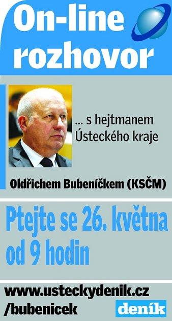 Hejtman Oldřich Bubeníček bude 26.května od 9.00odpovídat on-line na dotazy čtěnářů.