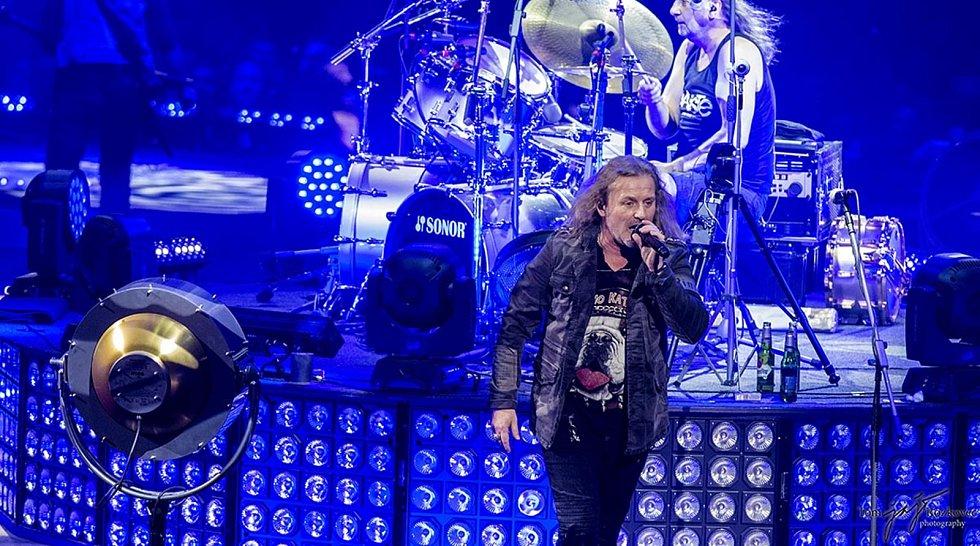 Bubeník kapely Kabát Radek Hurčík zvaný Hurvajs při koncertu.