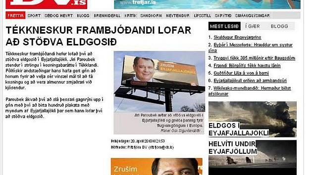 Jiří Paroubek v islandských webových novinách...