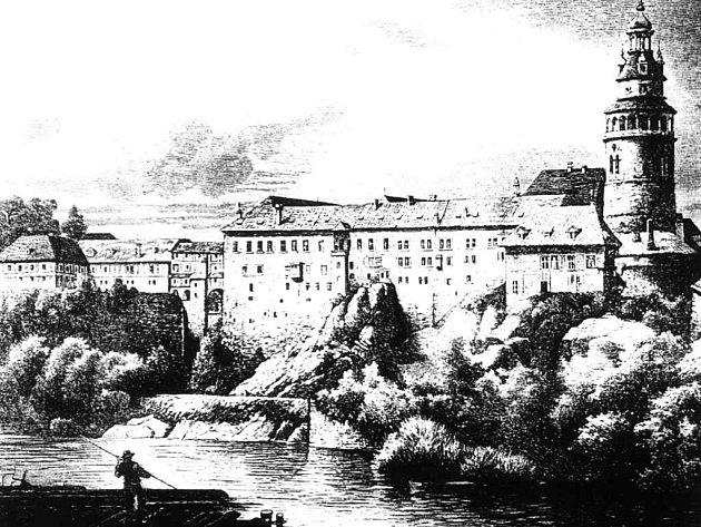 Českokrumlovský hrad, kde se odehrává větší část děje románu Rožmberské dědictví, na rytině z počátku 19. století.