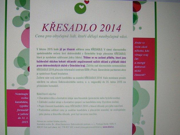 Stránka ceny Křesadlo na webu.