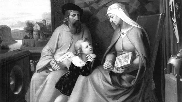 sv. Ludmila vyučuje svého vnuka sv. Václava. Na obraze je i Ludmilin manžel kníže Bořivoj, který však byl v době Václavova narození dávno po smrti.
