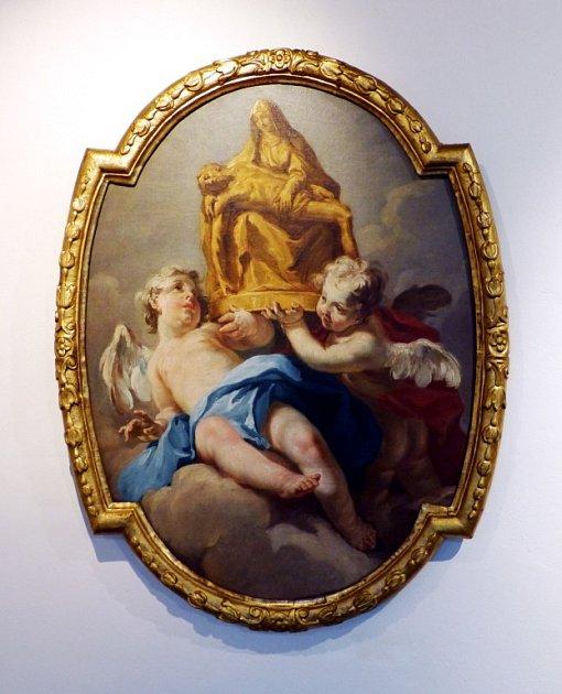 Obraz Antona Kerna: Bohosudovská Pieta nesená dvěma andílky.