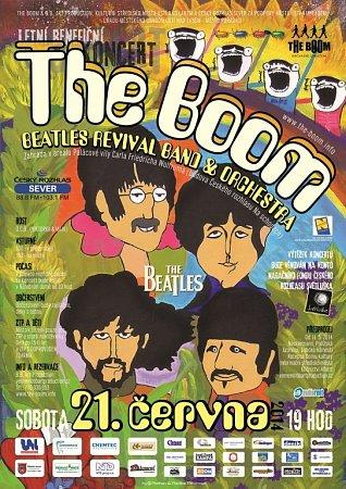Jak viděl slavnou kapelu výtvarník, to ukazuje plakát na letní ústeckou benefici The Boom sorchestrem vsobotu 21.června vÚstí.