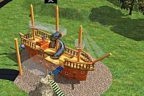 Nové hřiště ve Všebořicích bude mít jako hlavní prvek pirátský trojstěžník se skluzavkami a dalšími atrakcemi. Na děti zde čekají ale i krokodýl nebo takzvaná rybářská loďka.