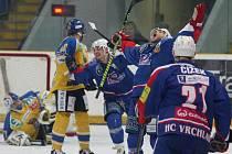 Čtvrtfinálová série 1. hokejové ligy mezi Ústeckými Lvy a Vrchlabím je po dvou zápasech překvapivě vyrovnaná.