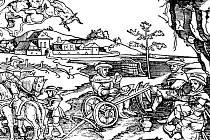 Přemysl obědvá na převráceném pluhu. Dřevořez z původního vydání kroniky Václava Hájka z Libočan.