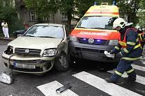 Dopravní nehoda v Bělehradské ulici.