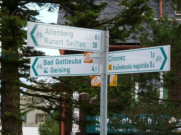 Vcykloregionu Krušné hory se cyklisté díky kvalitnímu značení lehce zorientují.