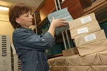 Balíky volebních lístků rozdělují úředníci střekovského obvodního úřadu. Jejich vkládání do obálek a roznos leckdy zabere i několik dnů. Na snímku střekovská úřednice Jana Pravdová.