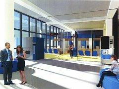 Vizualizace plánovaného přepážkového centra ústeckého magistrátu.