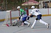 Hokejbalisté Elby DDM Ústí (bílí) hrají ve čtvrtfinále play off s Plzní 1:1 na zápasy.