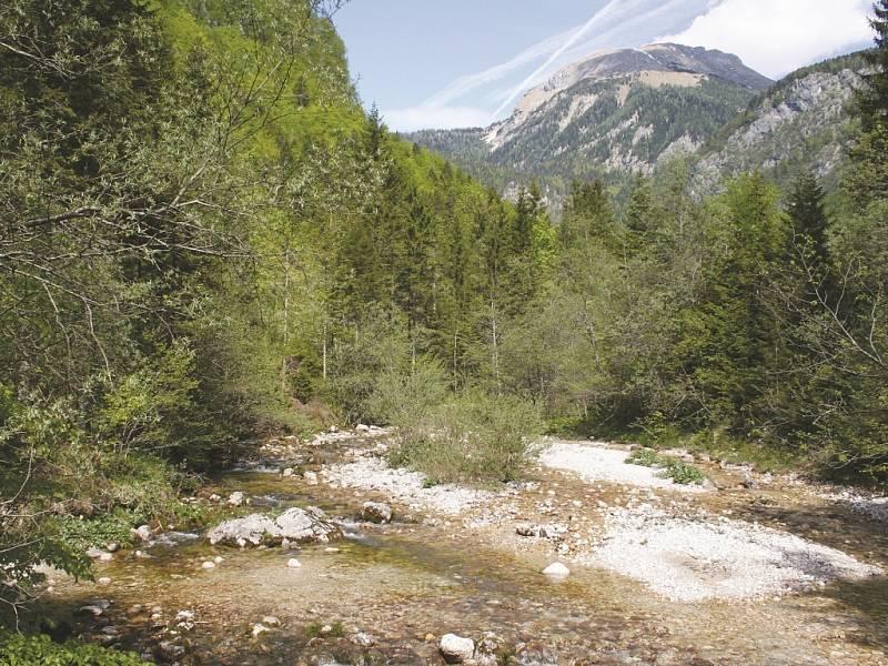Dolina Voje. I z ní vede přístupová cesta k vrcholu Triglavu.
