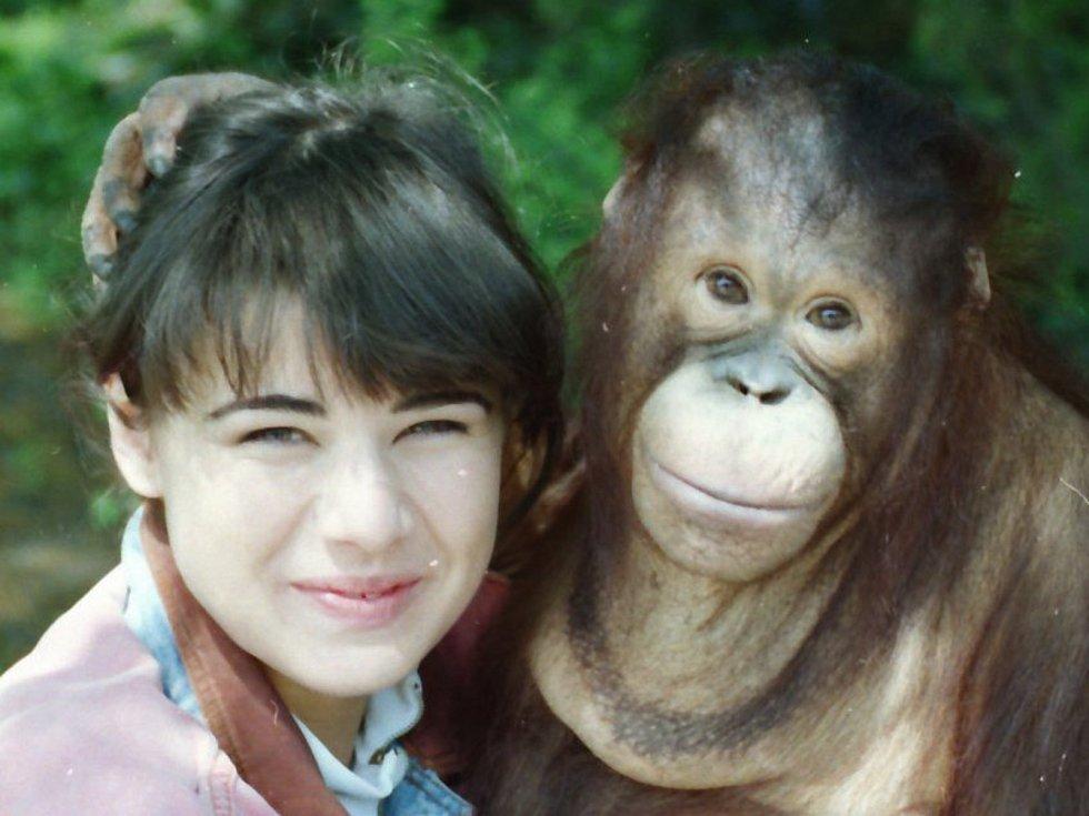 Ústecký orangutan a poslední Miss Československa Pavlína Babůrková v roce 1992.