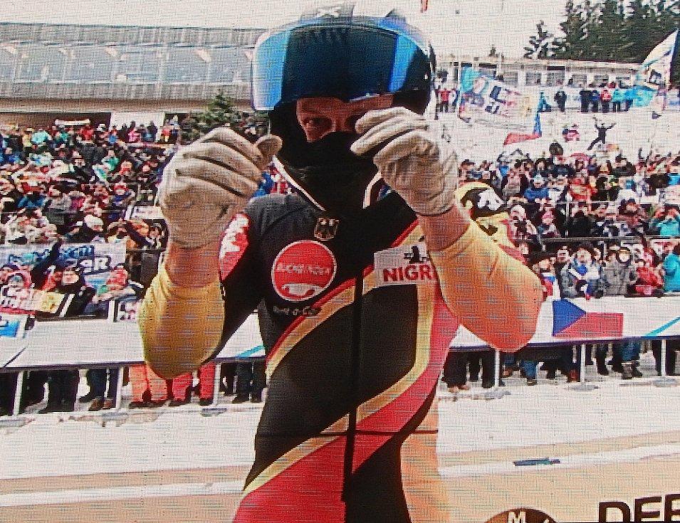 Světový pohár bobu a skeletonu v Altenbergu. Vítěz závodu Francesco Friedrich.
