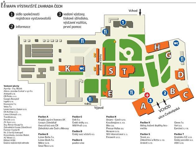 Mapa výstaviště.
