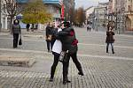 Demonstrace proti vládním protiepidemickým opatřením v centru Ústí nad Labem