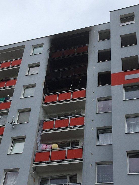 Požár bytu ulice V oblouku v Ústí nad Labem.