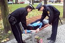 Opilec si ustlal na lavičce.