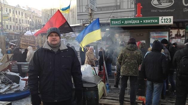 Radim F. Holeček v centru Kyjeva.