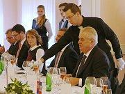 Oběd prezidenta Miloše Zemana v Císařských lázních Teplice.