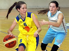 Basketbalistky Slunety Ústí (ve žlutém). Ilustrační foto.