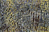 František Hodonský, Zimní trávy 2001, dřevořez, tmavě šedý karton, v. 70 cm, š. 100 cm.