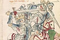 Lothar III. bojující v bitvě u Chlumce proti českým oddílům. Historia septem sapientum, sepsaná okolo roku 1450.