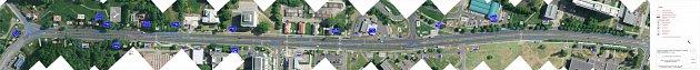 První varianta úpravy silnice před Masarykovou nemocnicí bez semaforu.
