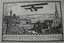 Propagační pohlednice k soutěžnímu letu z roku 1914. Reprofoto z knihy Srdečné pozdravy z Teplic a okolí.