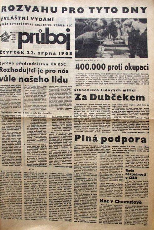 Články ze srpna 1968 v ústeckých novinách.