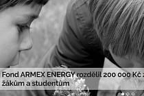 Fond ARMEX rozdělil 200 000 korun znevýhodněným žákům a studentům.