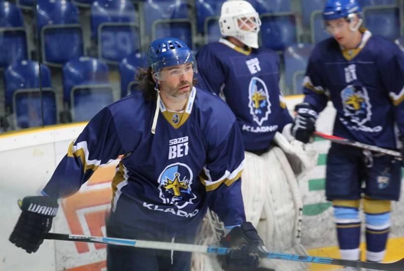 Jaromír Jágr se rozbrusluje na zimním stadionu v Ústí.