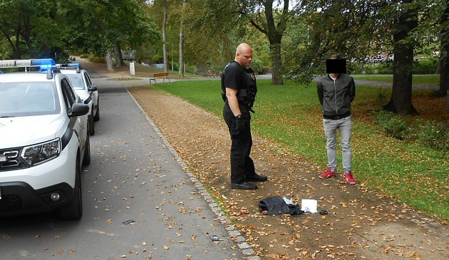 Strážníci prošli Městské sady a nakonec spomocí napadeného útočníka skutečně našli.