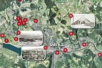 Mapa kontaminovaných míst na Ústecku. Obsahuje celkem šestadvacet lokalit, kam pronikly nebezpečné látky během průmyslové výroby, nebo je podniky uložily na skládky, případně s nimi dodnes pracují.