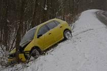 Nabouraný automobil u Malečova