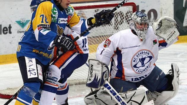 Litoměřickému brankáři Martinu Volkeme vstřelili ústečtí hokejisté jen dva góly.
