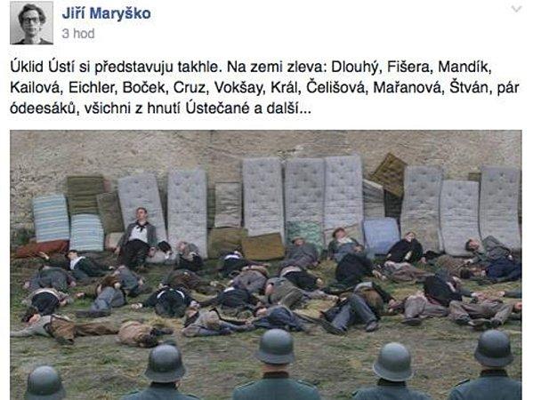 Snímek zfilmu Lidice skomentářem Jiří Maryško smazal, ale po internetu stále koluje.