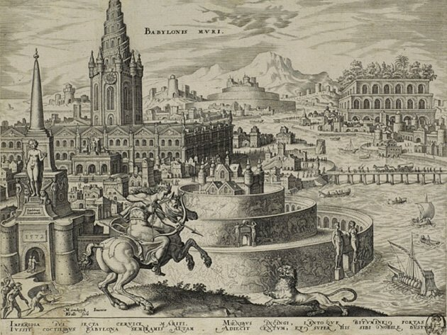 Philips Galle nach Maarten van Heemskerck, 1572, List č. 7, Babylón, mědirytina, 212 x 265 mm