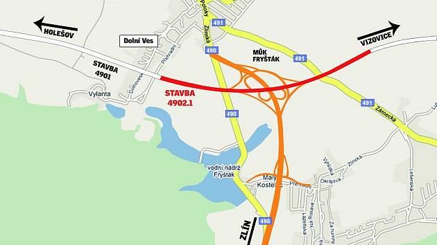 Oranžová barva naznačuje, kudy by měl vést přivaděč od rychlostní komunikace R49 z Fryštáku do Zlína.