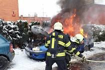 Požár auta ve Zlíně