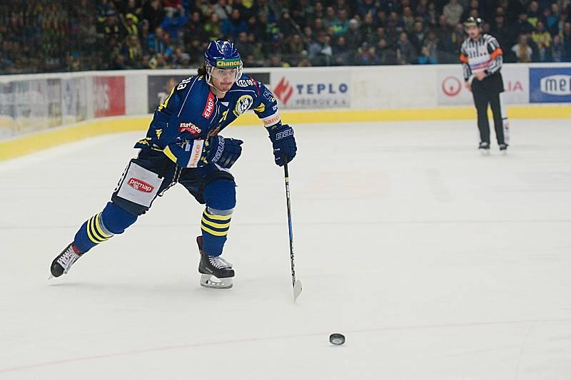 Třetí utkání čtvrtfinále play-off hokejové Chance ligy mezi Přerovem a Kladnem. Robert Černý.