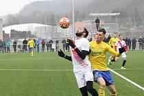 Fotbalisté prvoligového Zlína (žluté dresy) ve druhém přípravném zápase porazili slovenskou Sereď 2:1. Na snímku Ondřej Bačo.