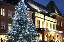 Na zlínském náměstí Míru se rozsvítil ve čtvrtek 2. prosince vánoční strom.
