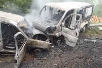 Dopravní nehoda s následným požárem u Slušovic